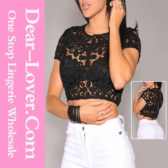 Black Crochet Unlined Cropped Top