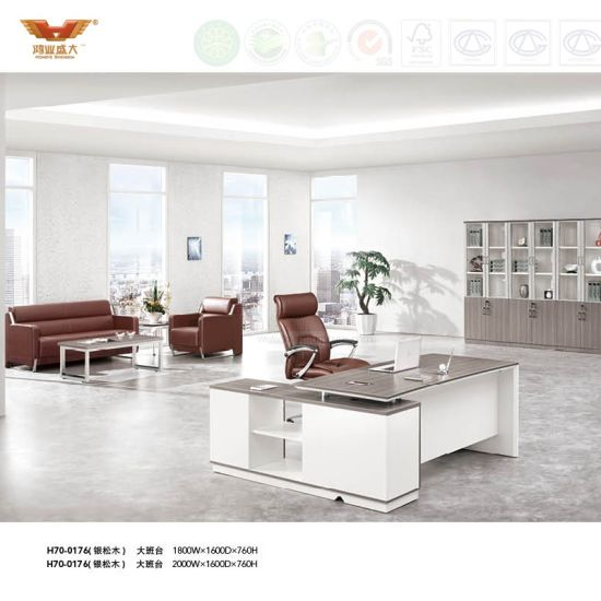 Panel Bussiness Executive Melamine Office Table with Metal Leg (H70-0176)