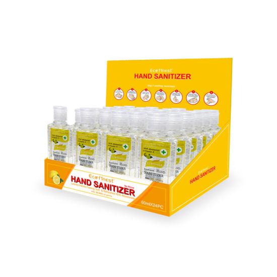Eco Finest 2oz Hand Sanitizer Bulk Pack No Rinse 75% Alcohol Instant Clean Travel Size (BULK 24) Individual Retail Pack- Scent: Lemon