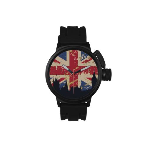 Custom Men's Golden Leather Strap Watches Unisex Round Plastic Sport Watch