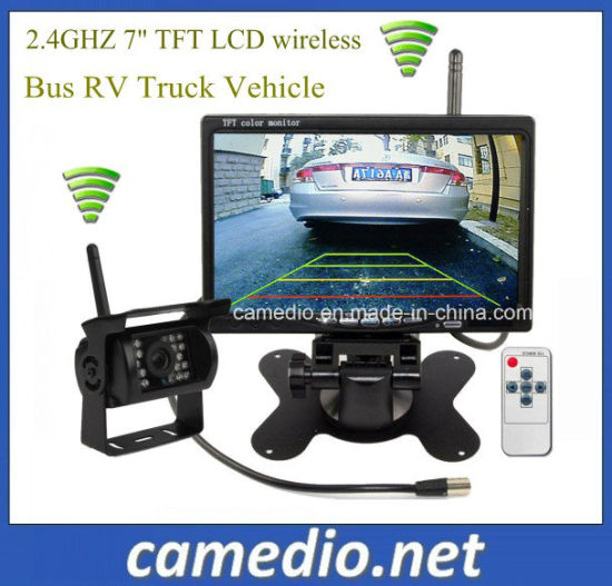Wireless Bus RV Truck Vehicle Monitoring System 7 Inch Monitor + Truck Wireless Rear View Backup Camera System Kit pictures & photos