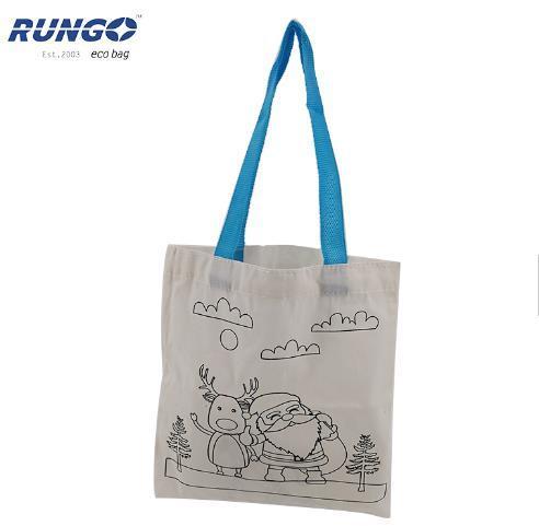 Child Graffiti Painting Fabric Cotton Handbag DIY Drawing Bags