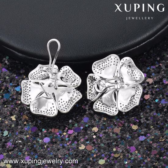 28420 Fashion Luxury Wedding Jewelry Zircon Flower Earring Inrhodium-Plated pictures & photos