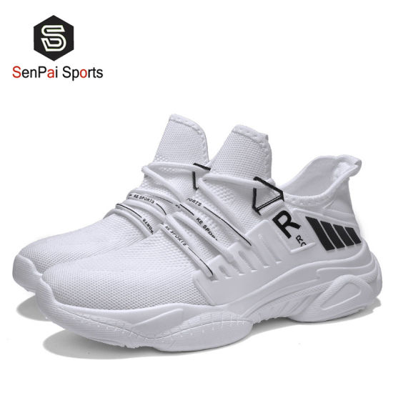 White and Black Slip on Men Shoes Women Fabric Sneakers