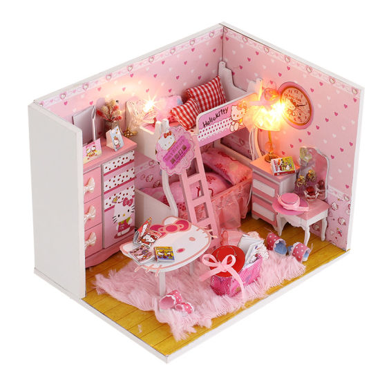 2018 happy new year gift with wooden miniature doll house