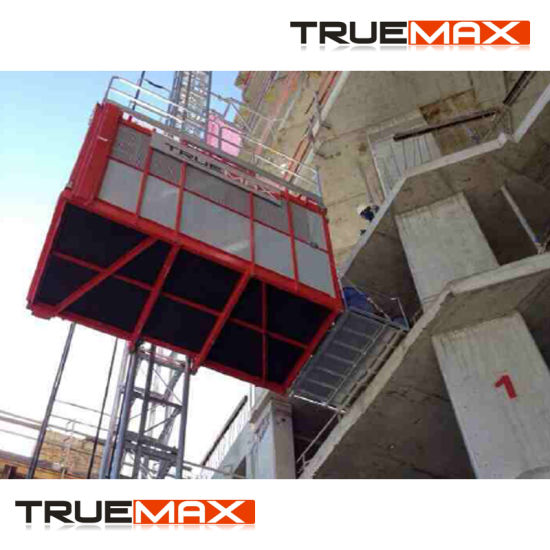 Truemax Ce Approved Double Cage Galvanized Mast Section Passenger Hoist pictures & photos