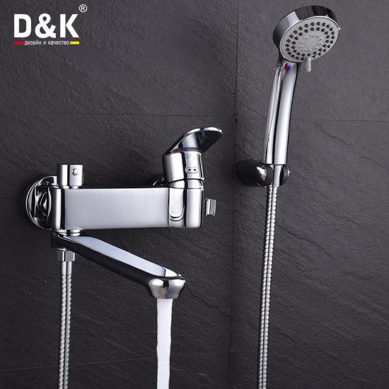 Modern Design High Quality Brass Long Spout Shower/Bath Faucet with Shower Kit