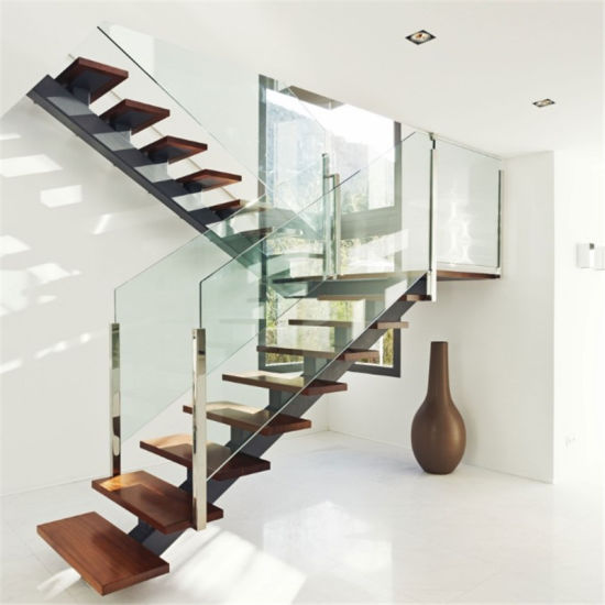 Single Center Beam Straight Wood Staircase Gl Stair With Railing