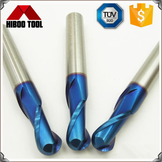 China Blue Nano Coated Ball Nose End Mill with 2 Flutes