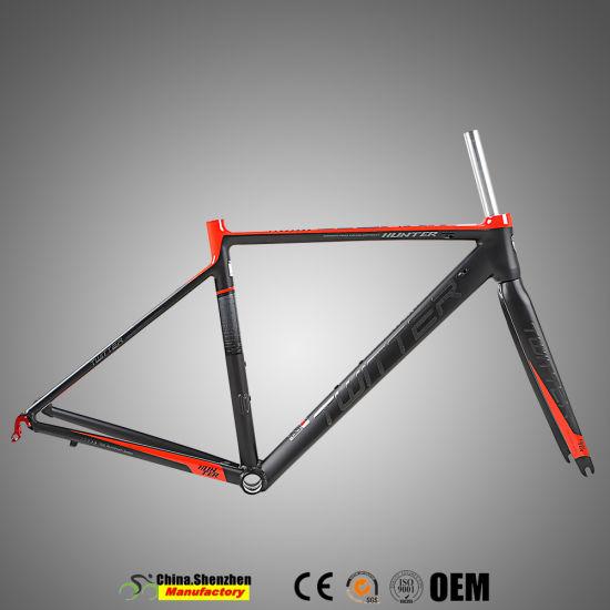 China Custom Design 700c Aluminum Road Bike Frame with carbon Fork ...