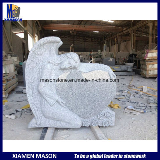 Carved Angel Holding Heart Memorial Headstones pictures & photos