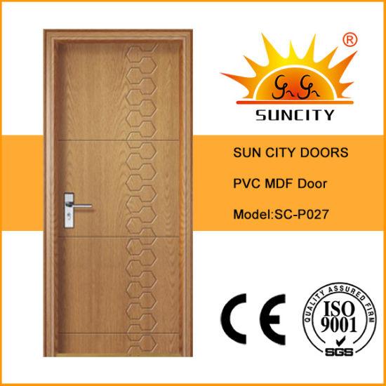 China Supplier Modern Design PVC Folding Wooden Interior Room Door