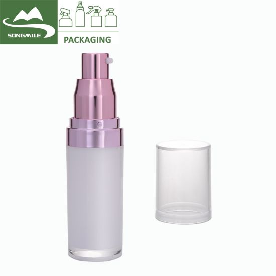 Wholesale Airless Cosmetic Bottle, Luxury Plastic Round Airless Pump Bottle with Acrylic Lids