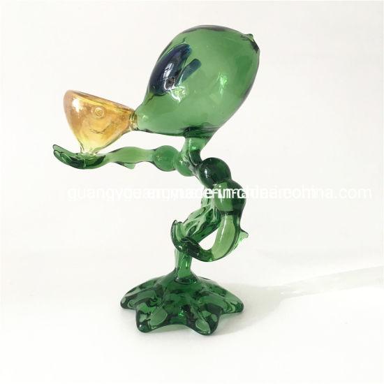 Green Et Smoking Filter Pipe Alien Man Glass Water Pipe