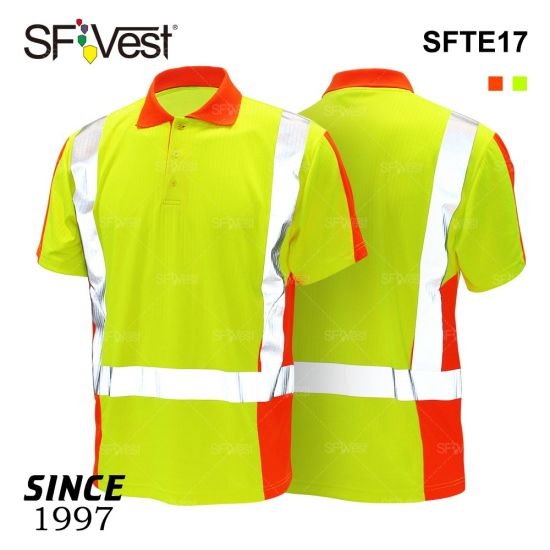 Manufacturer Hi Vis Security Cotton Inner Short Sleeve Breathable Polo T-Shirt Reflective Safety Clothing