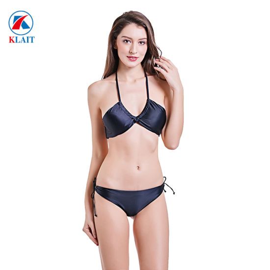 02fd0daa73 China Women′s Tie Side Bottom Padded Two Piece Solid Color Black ...