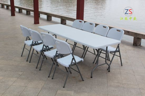 HDPE 8FT Whole Resin Folding Table Outdoor Furniture pictures & photos