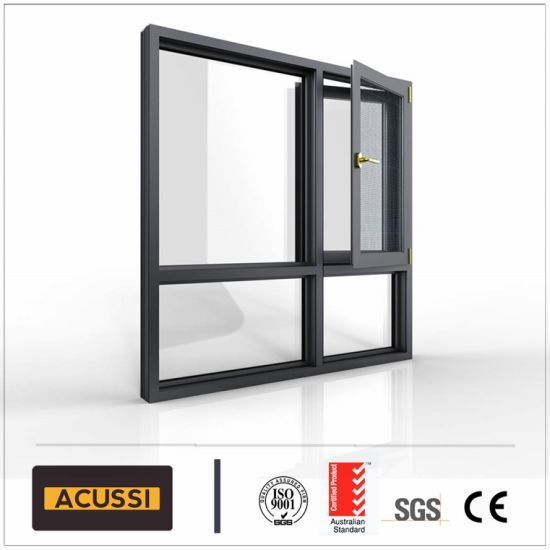 Aluminium Casement Top-Hung Window with Double Tempered Glass for Building Project