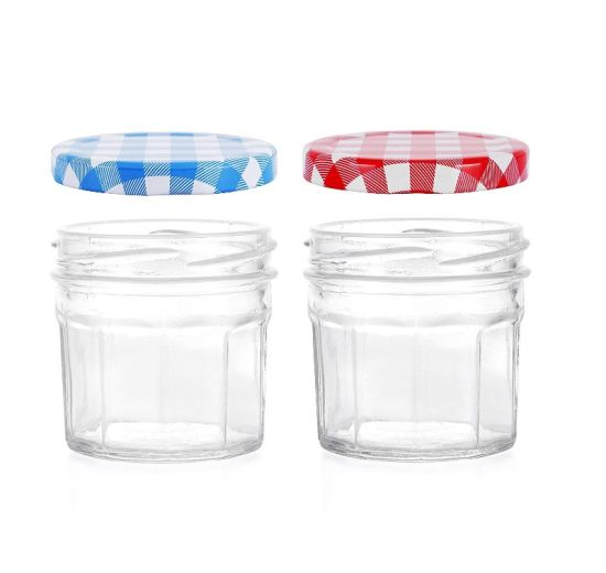 Jam Jars with Lids Red or Blue pictures & photos