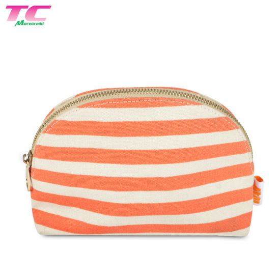 Fashion Style Customized Small Pouch Coin Bag Stripe Mini Cavans Cosmetic Makeup Bag