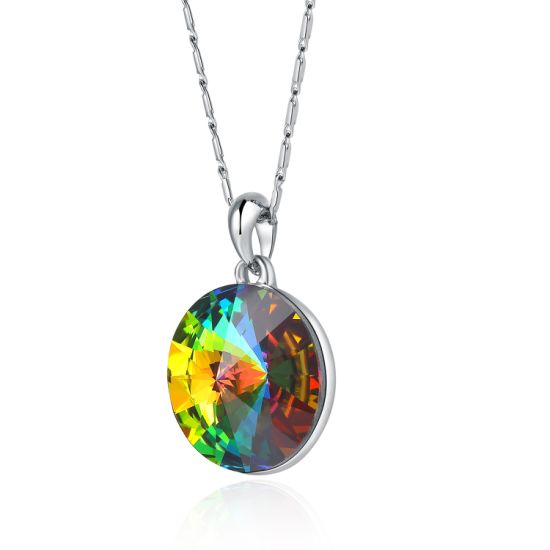 Changes Colour Sparkly Colorful Crystal Aurora Borealis Pendant Necklace Silver Tone Plated with Crystals, Jewellery Birthday Gifts for Women Girlfriend