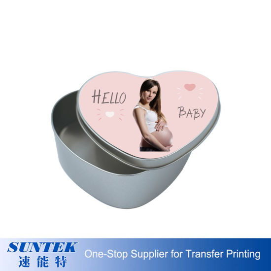 Heat Transfer Custom Printing 2D Metal Candy Tin Box Heart Shape