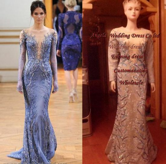 Free Shipping Drop Shipping Celebrity Graduation Evening Dress Sweep Train Long Sleeve V-Neck Mermaid Embroidery Custome