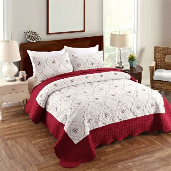 Summer Quilt 100% Polyester Bedspread Set Stitching Floral Coverlets Embroidery Quilt