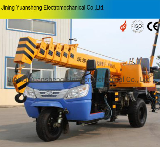 China Manufacturer 2 Ton Hydraulic Motor Tricycle Mounted Mobile Telescoped Crane for Lifting pictures & photos