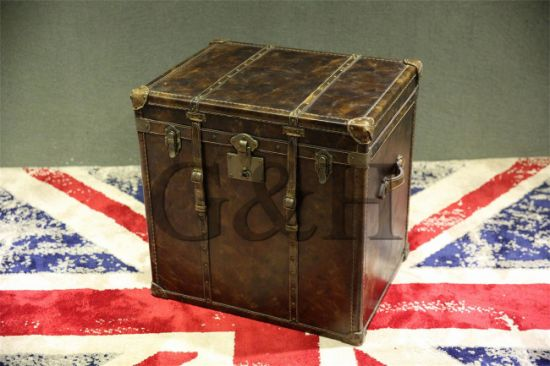 Vintage Faux Leather Square Trunk Side Tables