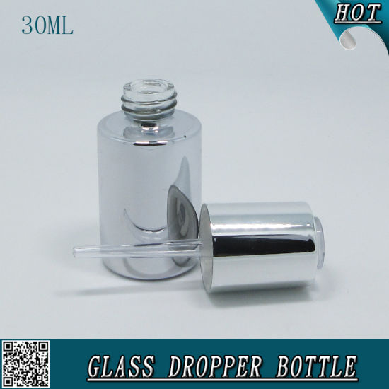30ml Cosmetic Liquid Essence Serum Dropper Bottle Silver Color Essential Oil Bottle pictures & photos