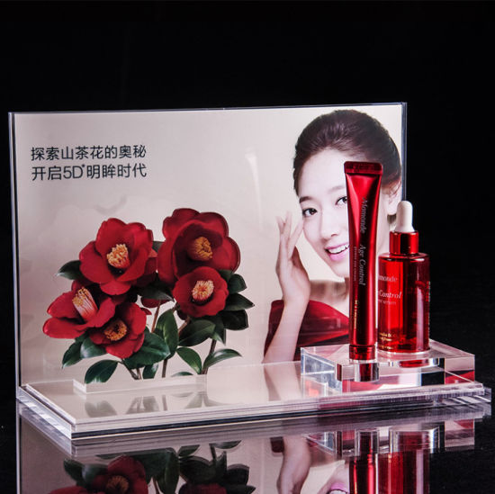 Acrylic Cosmetic Display Stand, Makeup Organizer, Skincare Bottle Fixture, Counter Top Display for Cosmetics