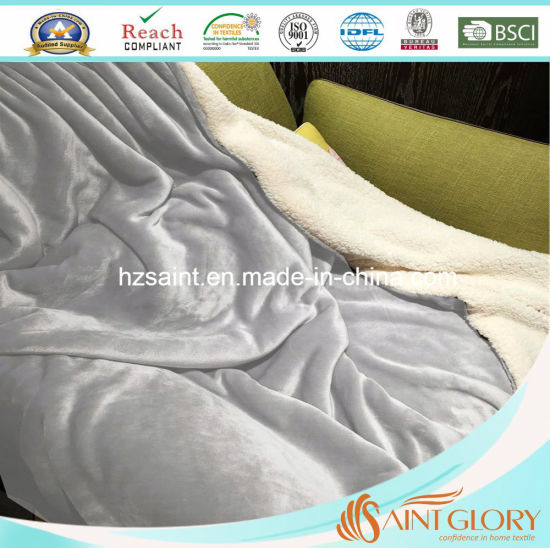 100% Polyester Two Layer Grey Color Sherpa Blanket pictures & photos