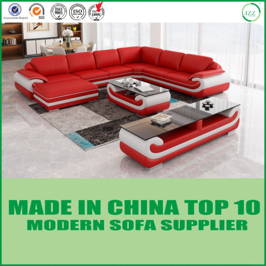 Wooden Living Room Genuine Leather Sofa Bed