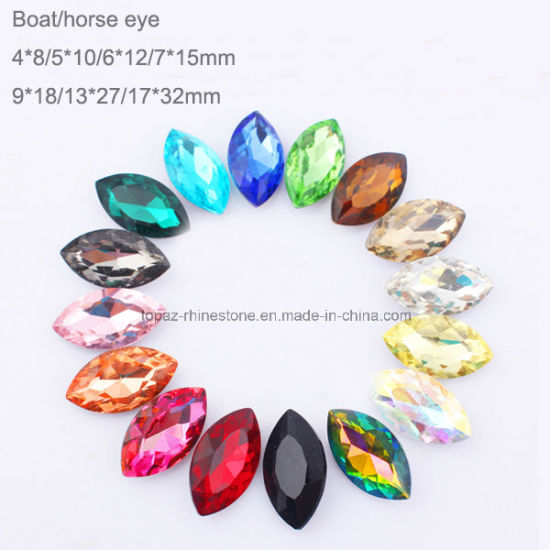 Oval Horse Eye 7*15 Point Back Glass Crystal Diamond Chaton for DIY Decoration (TP-Horse eye 7*15mm) pictures & photos