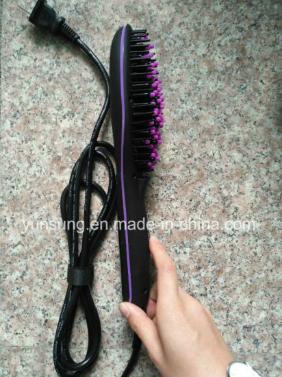 2017 Electric LED Hair Straightener Brush for Straightening Hair pictures & photos