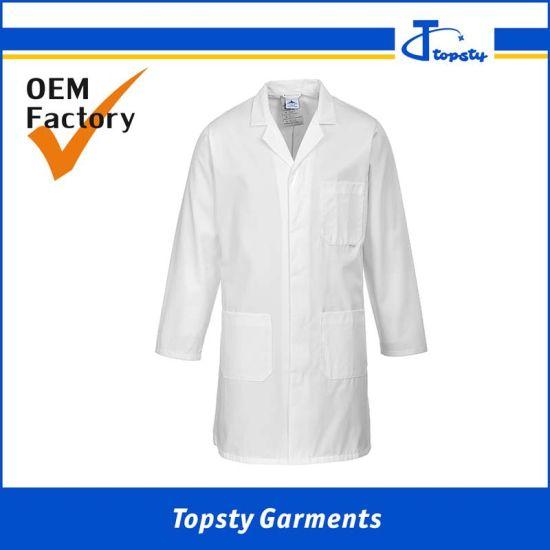 Custom Wholesale Guangzhou Twill Cotton/Polyester White Men's Lab Coat