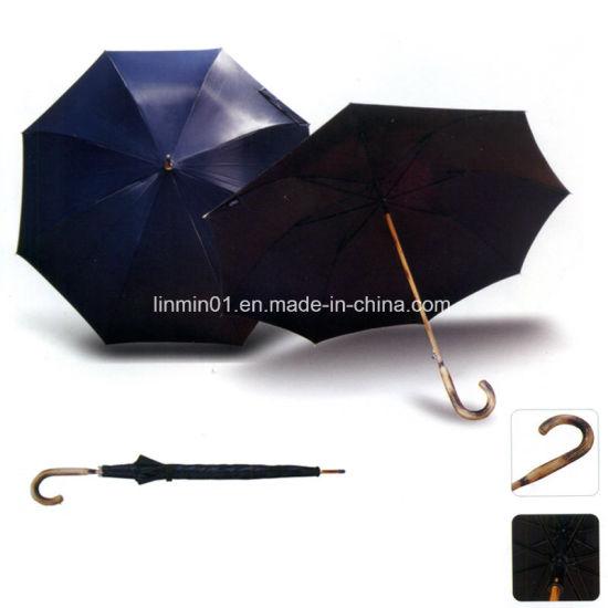 Wind Resistance Wood Shaft Wood Handle Straight Umbrella with Logo Printing