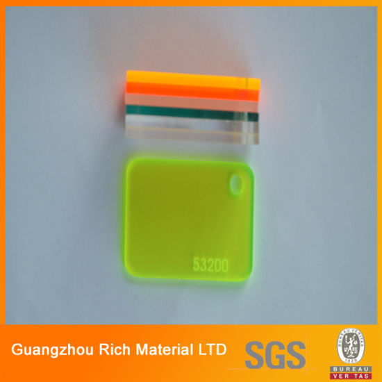 China Fluorescent Color Glossy Surface Cast Acrylic Sheet