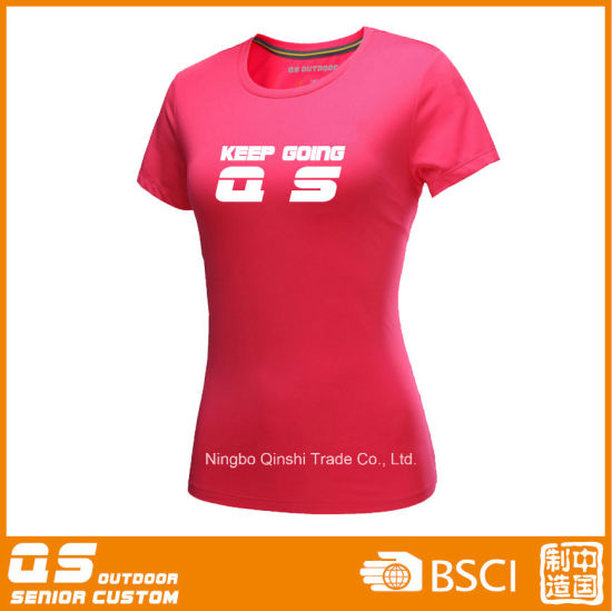 Women′s Sports Running Quick Dry Polyester T-Shirt pictures & photos