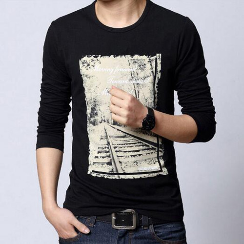 Men's Cotton/Poly Jersey Printed Long Sleeve T-Shirt
