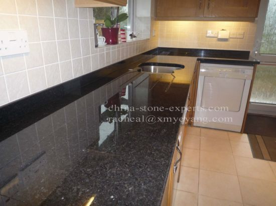 Polished Black Pearl Granite Kitchen Countertop (Yqz Gc1025