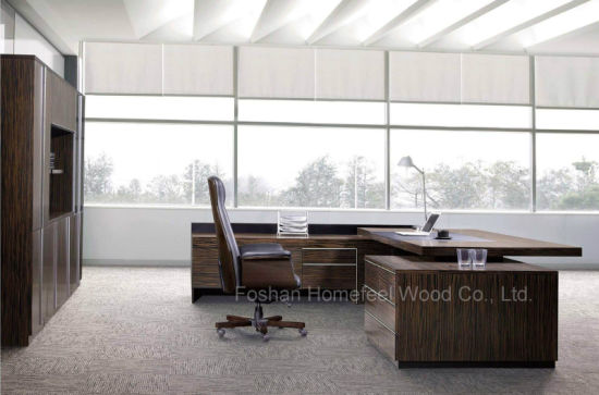 High Quality Black L Shaped Wooden Boss Executive Table (HF-SIG326) pictures & photos
