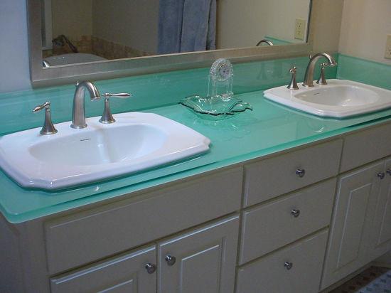 Tempered Glass Bathroom Vanity Top