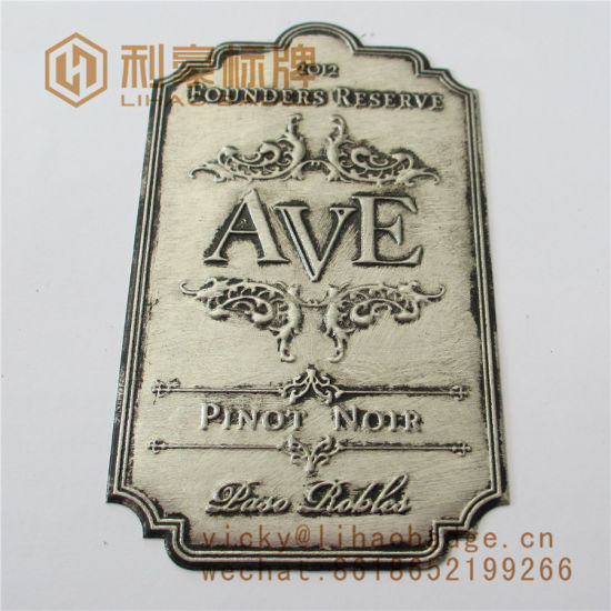 Custom Ancient Soft Stannum Pewter Wine Bottle Label pictures & photos