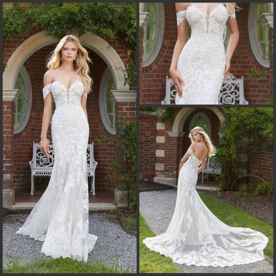 China Off Shoulder Bridal Gowns Mermaid Lace Tulle Wedding Gown
