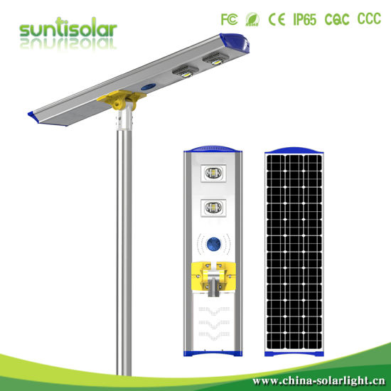 Outdoor Double Arms 50W 60W 80W LED Solar Street Light with Battery Hang on The Pole Solar Garden Light