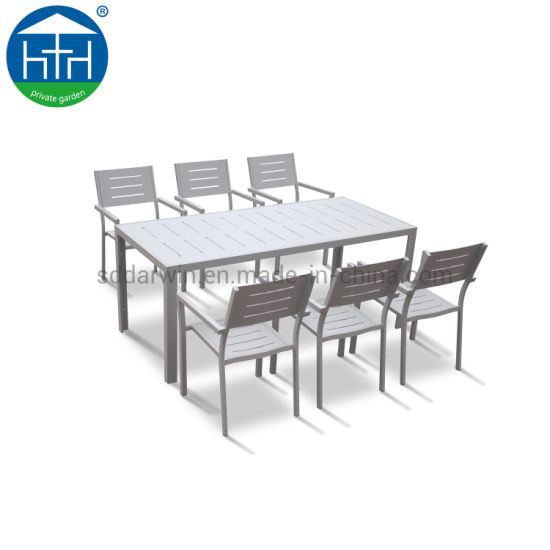 Outdoor Aluminum Polywood Leisuretable Wholesale Outdoor Chair and Table Set Patio Hotel Garden Furniture