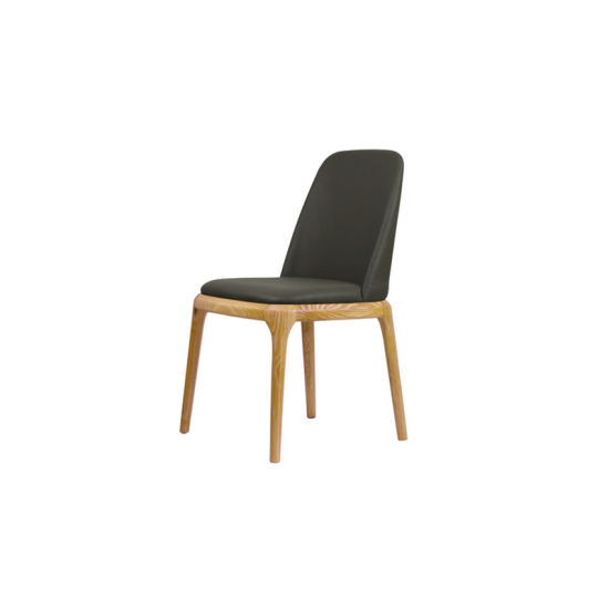 Simple Design Leisure Wooden Chair Soft Leather Seat Dining Chair