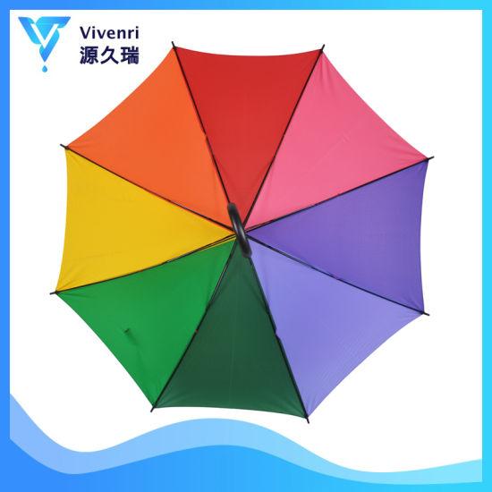 Wholesale Sun Rain Custom Rainbow Umbrella Straight in 8 Panels